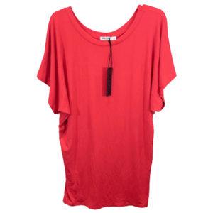 Lock & Love Red Short Sleeve Dolman Top - L  - NEW